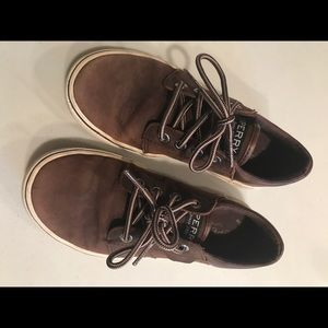Boys Sperry Leather Loafers. Brown, Size 1
